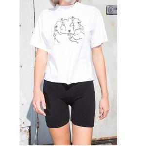 Brandy Melville Dancing Skeletons White Tee Shirt